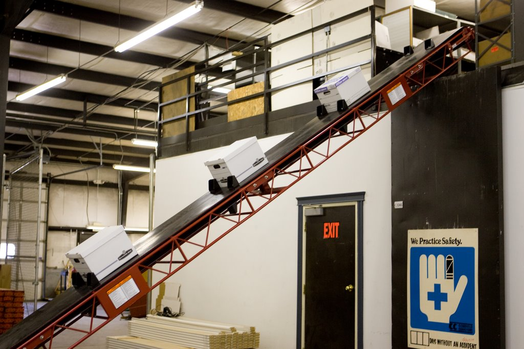 Conveyor with boxes on it